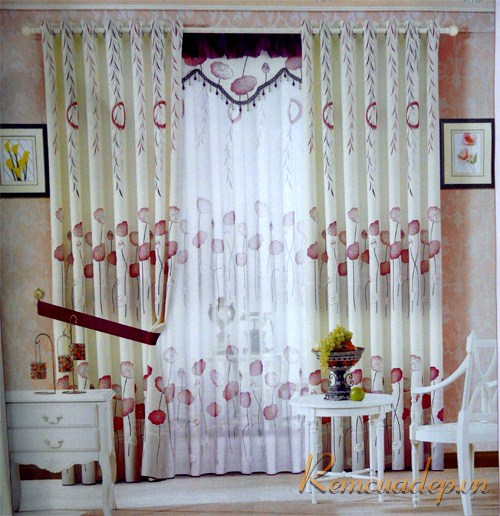 Mẫu rèm phòng khách vải gấm 315