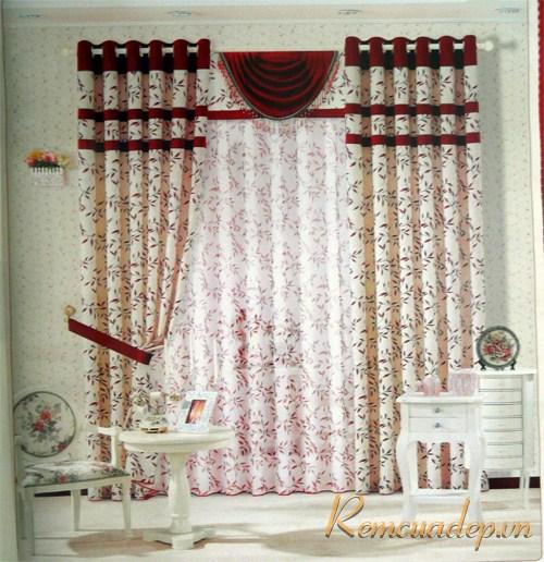 Mẫu rèm phòng khách vải gấm 389